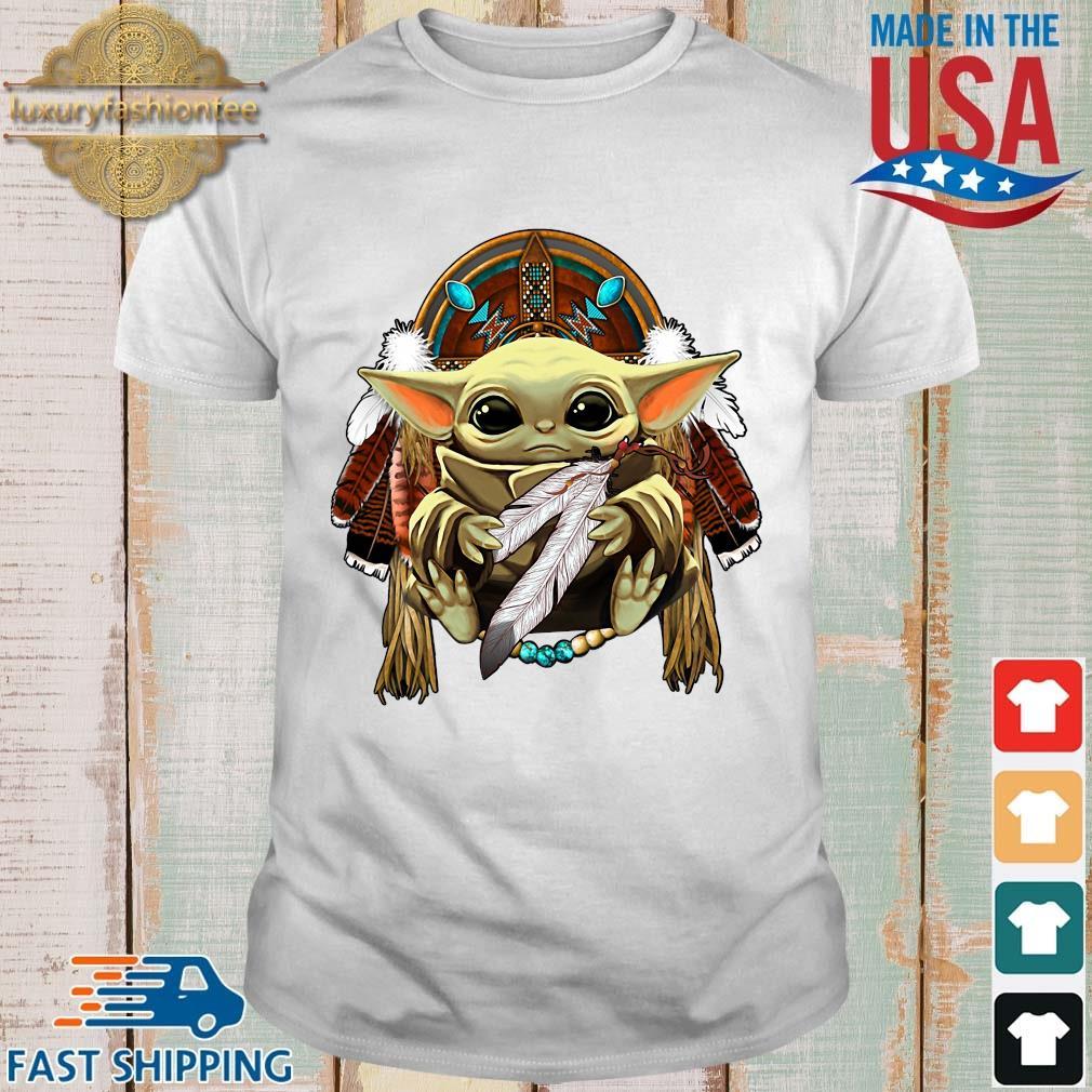 Baby Yoda hug Native American shirt