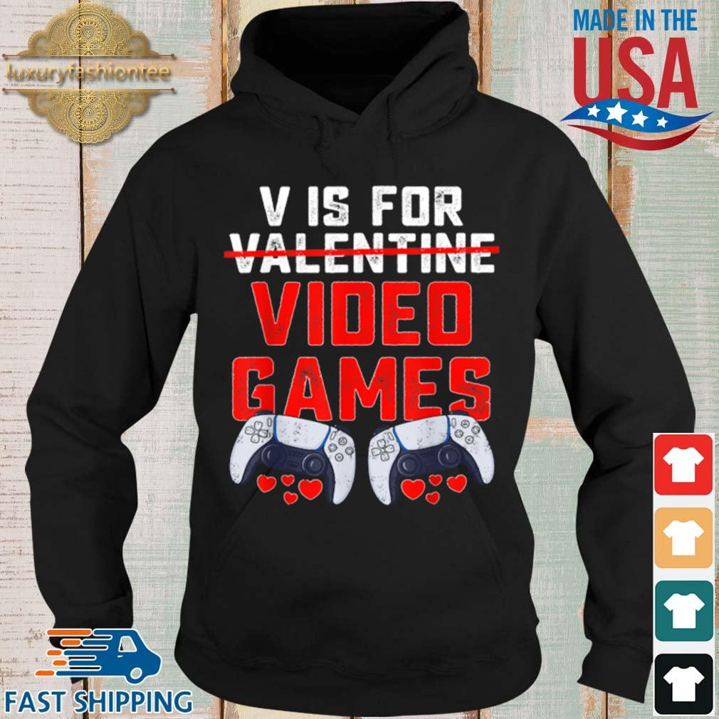 V Is For Video Games Valentines Day Boys s Hoodie