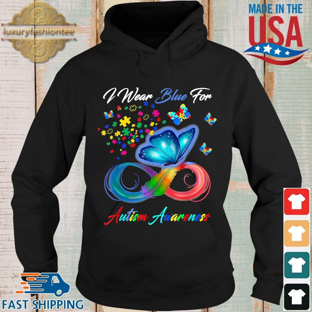 Butterfly I wear blue for Autism awareness Hoodie