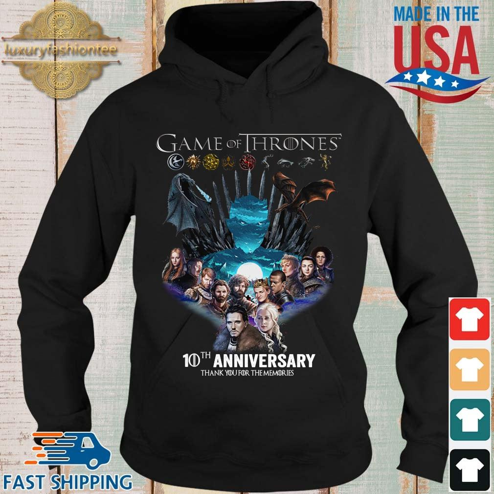 Game Of Thrones 10th anniversary thank you for the memories s Hoodie