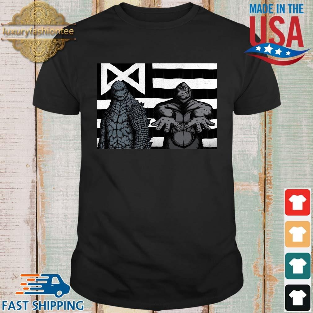 Godzilla And King Kong American Flag Shirt