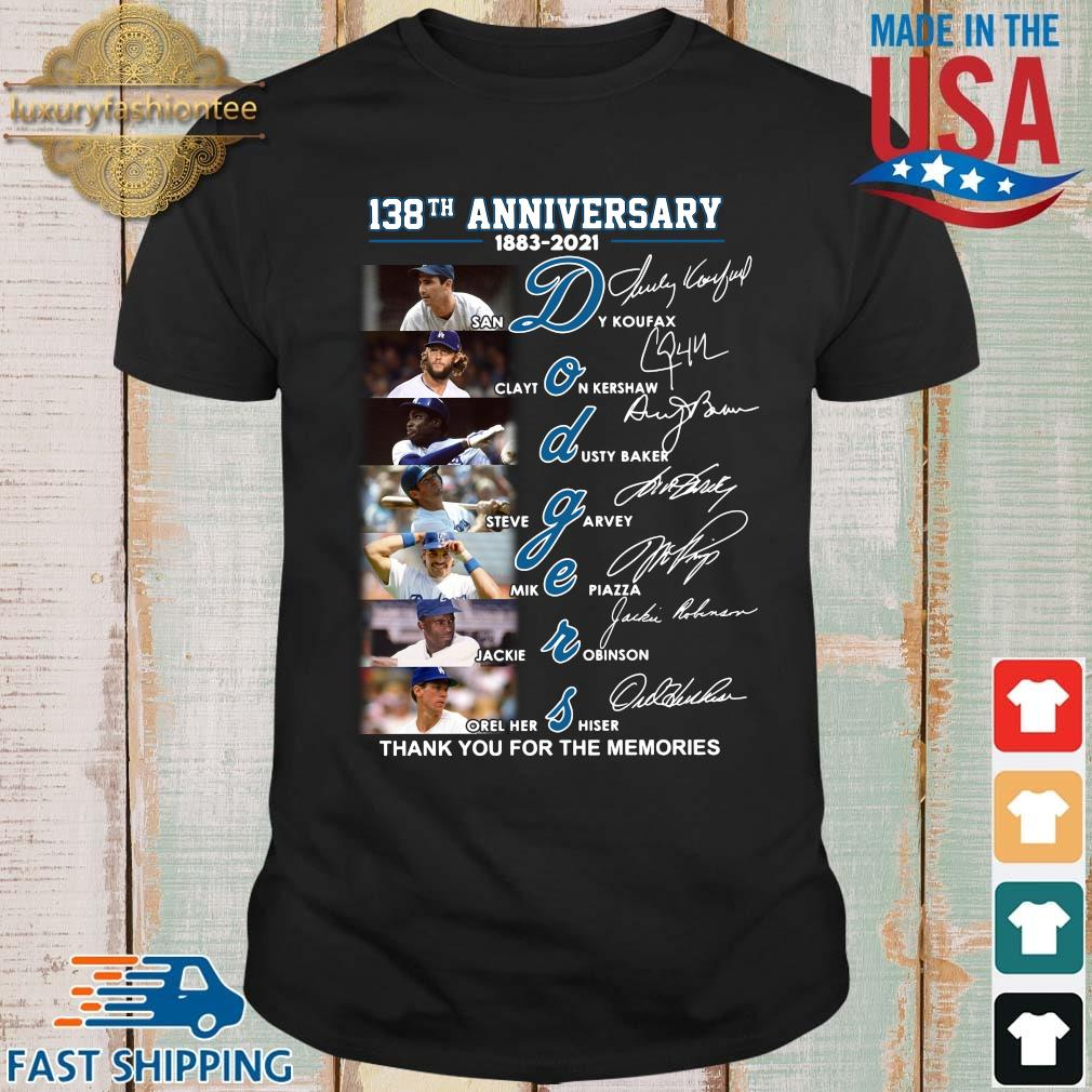 138th anniversary 1883-2021 Dodgers thank you for the memories signatures shirt