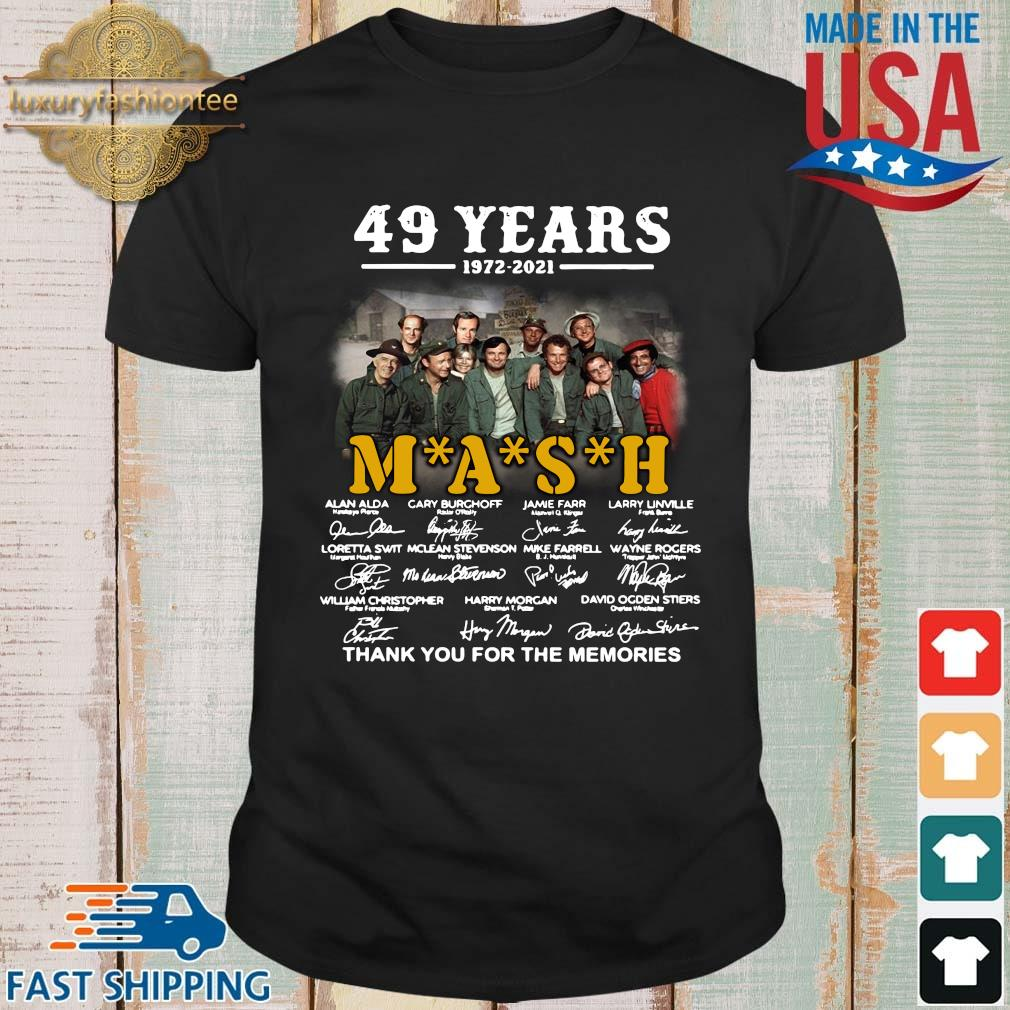 Funny 49 years 1972-2021 Mash thank you for the memories signatures shirt