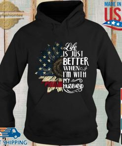 American flag sunflower life is just better when I'm with my husband s Hoodie den