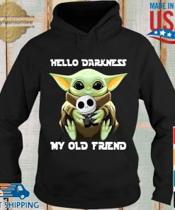 Baby Yoda hug skellington hello darkness my old friend s Hoodie den