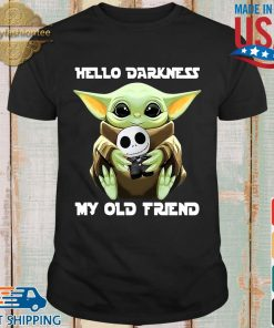 Baby Yoda hug skellington hello darkness my old friend shirt