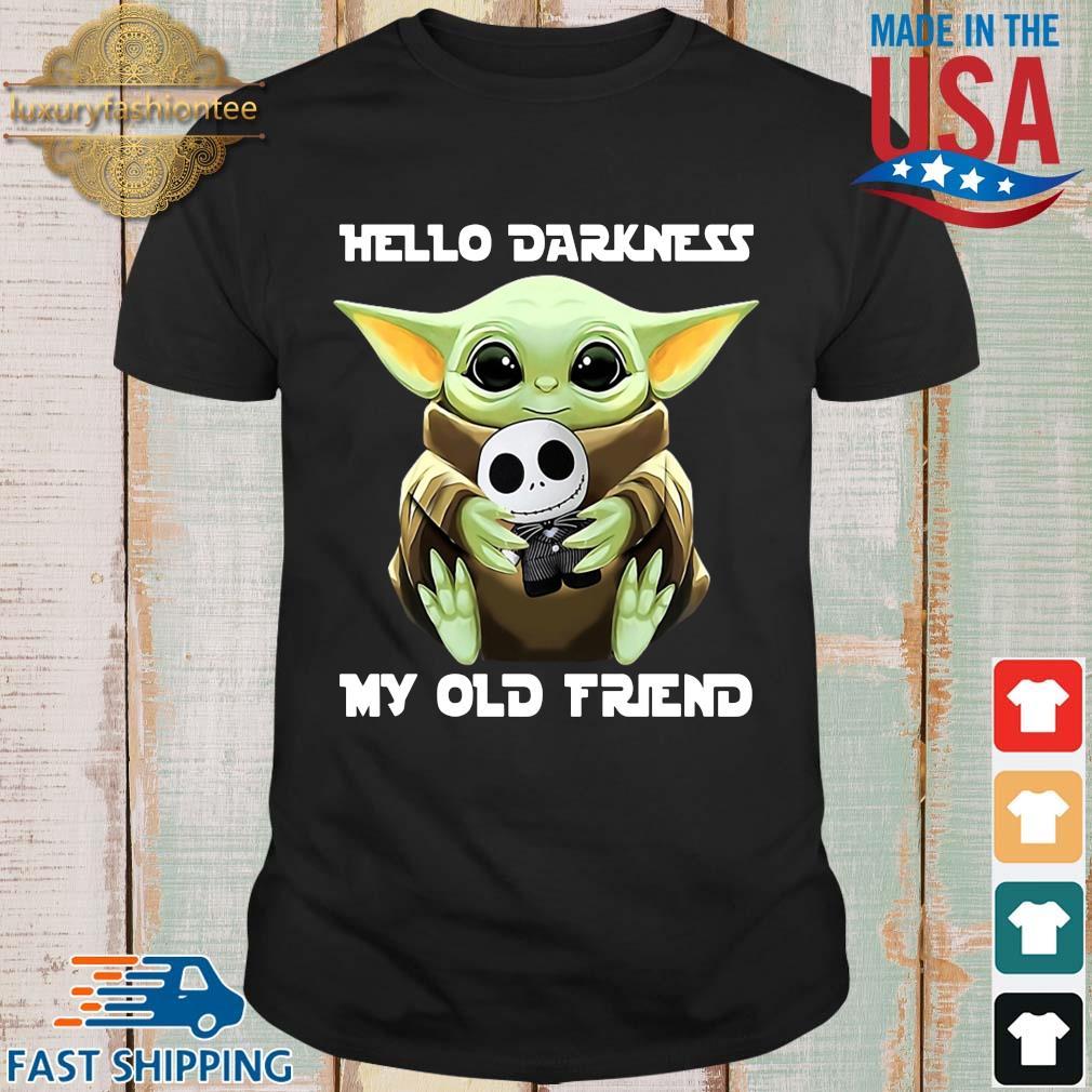Baby Yoda hug skellington hello darkness my old friend shirt