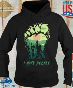 Bigfoot Alien middle finger green I hate people s Hoodie den
