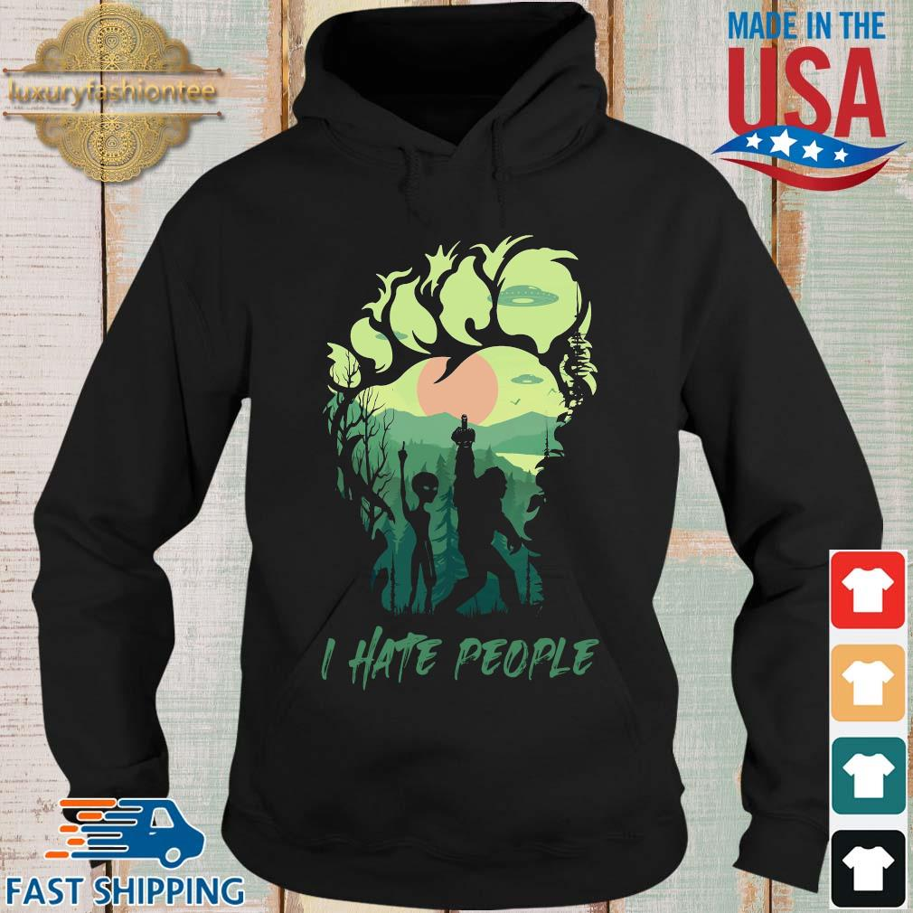 Bigfoot Alien middle finger green I hate people s Hoodie den