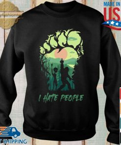 Bigfoot Alien middle finger green I hate people s Sweater den