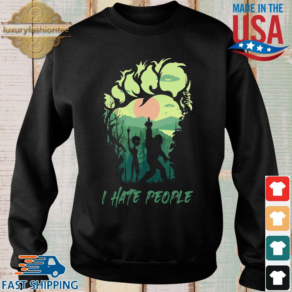 Bigfoot Alien middle finger green I hate people s Sweater den