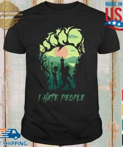 Bigfoot Alien middle finger green I hate people shirt