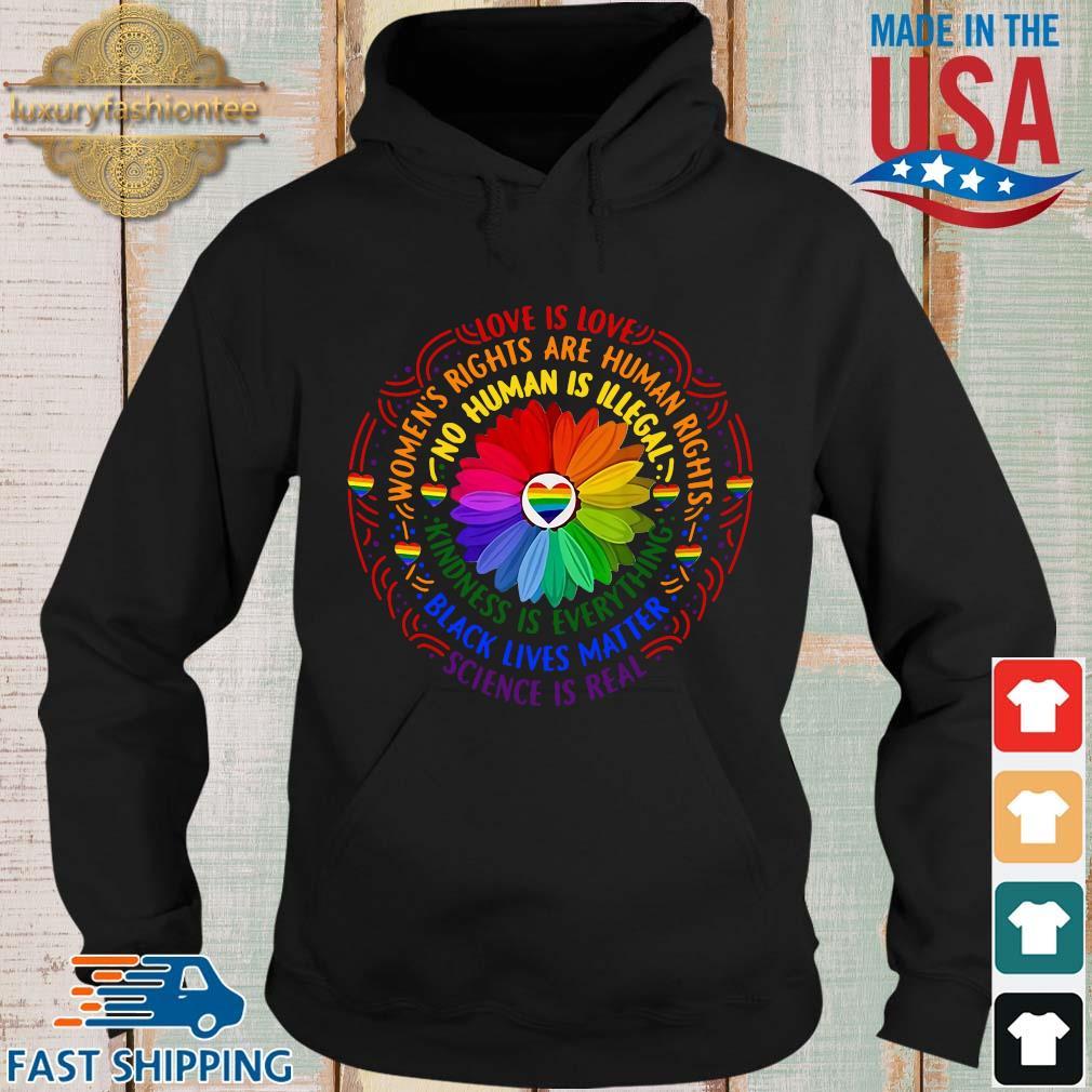 Black lives matter science love is love LGBT pride flower s Hoodie den