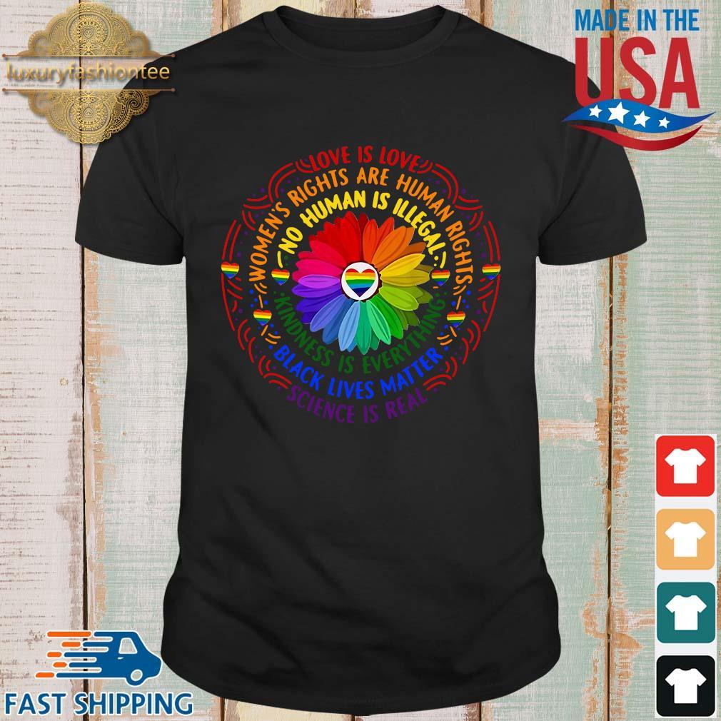 Black lives matter science love is love LGBT pride flower shirt