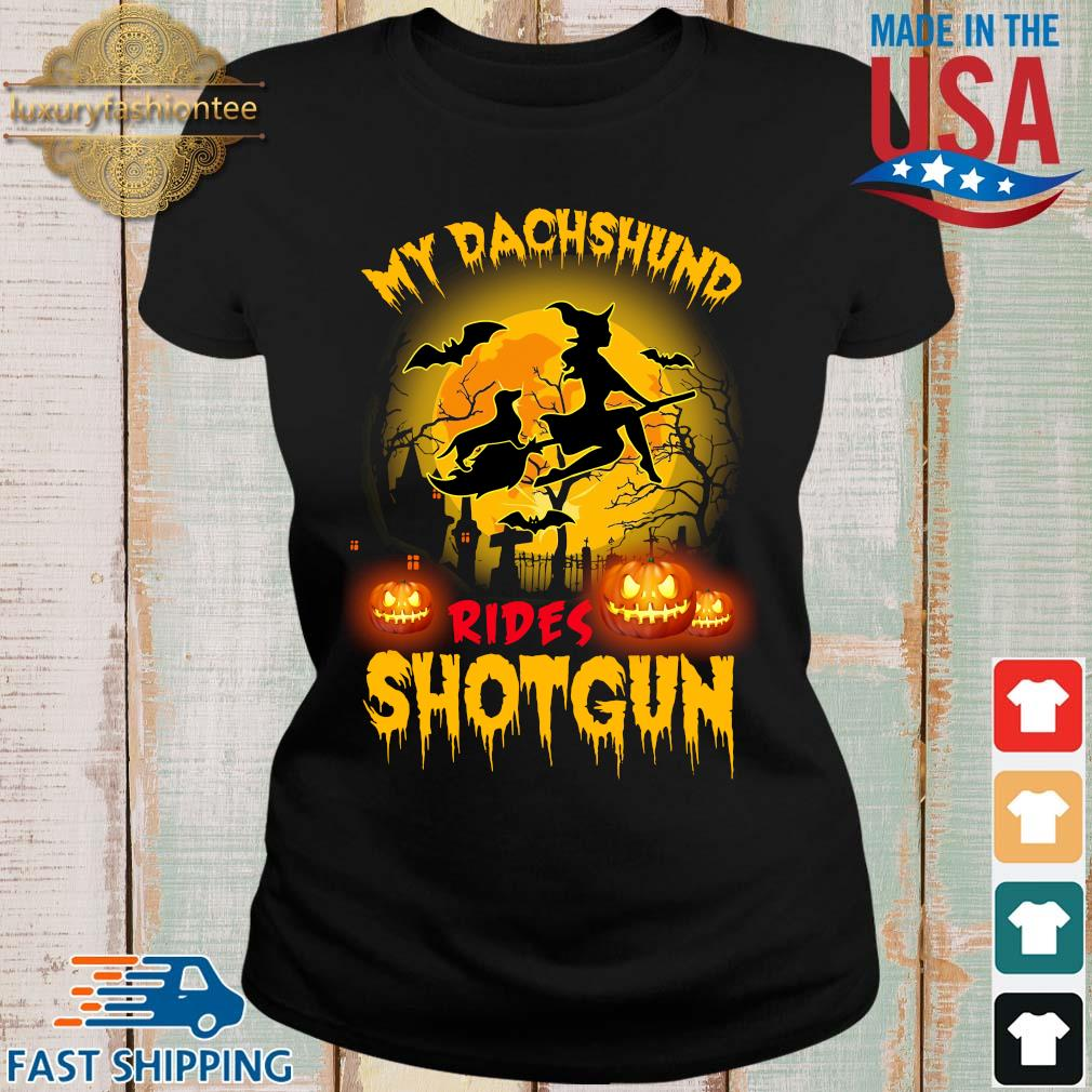 My dachshund rides shotgun scary halloween s Ladies den