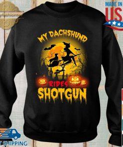 My dachshund rides shotgun scary halloween s Sweater den