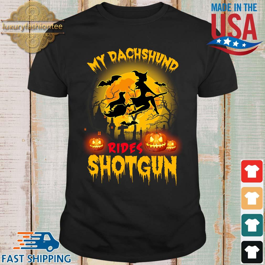 My dachshund rides shotgun scary halloween shirt
