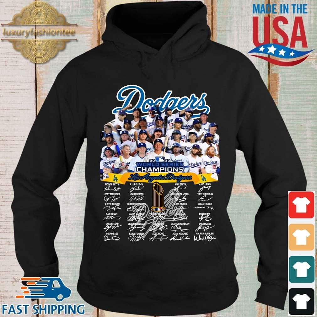 Los Angeles Dodgers 2020 world series Champions player name signatures s Hoodie