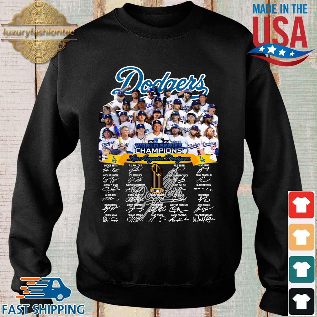 Los Angeles Dodgers 2020 world series Champions player name signatures shirt