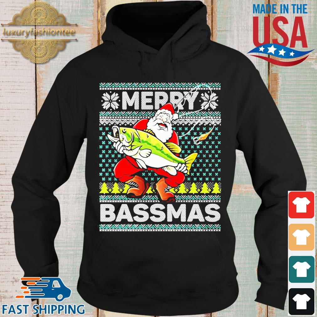 Merry Bassmas Fish Santa Christmas Sweats Hoodie den