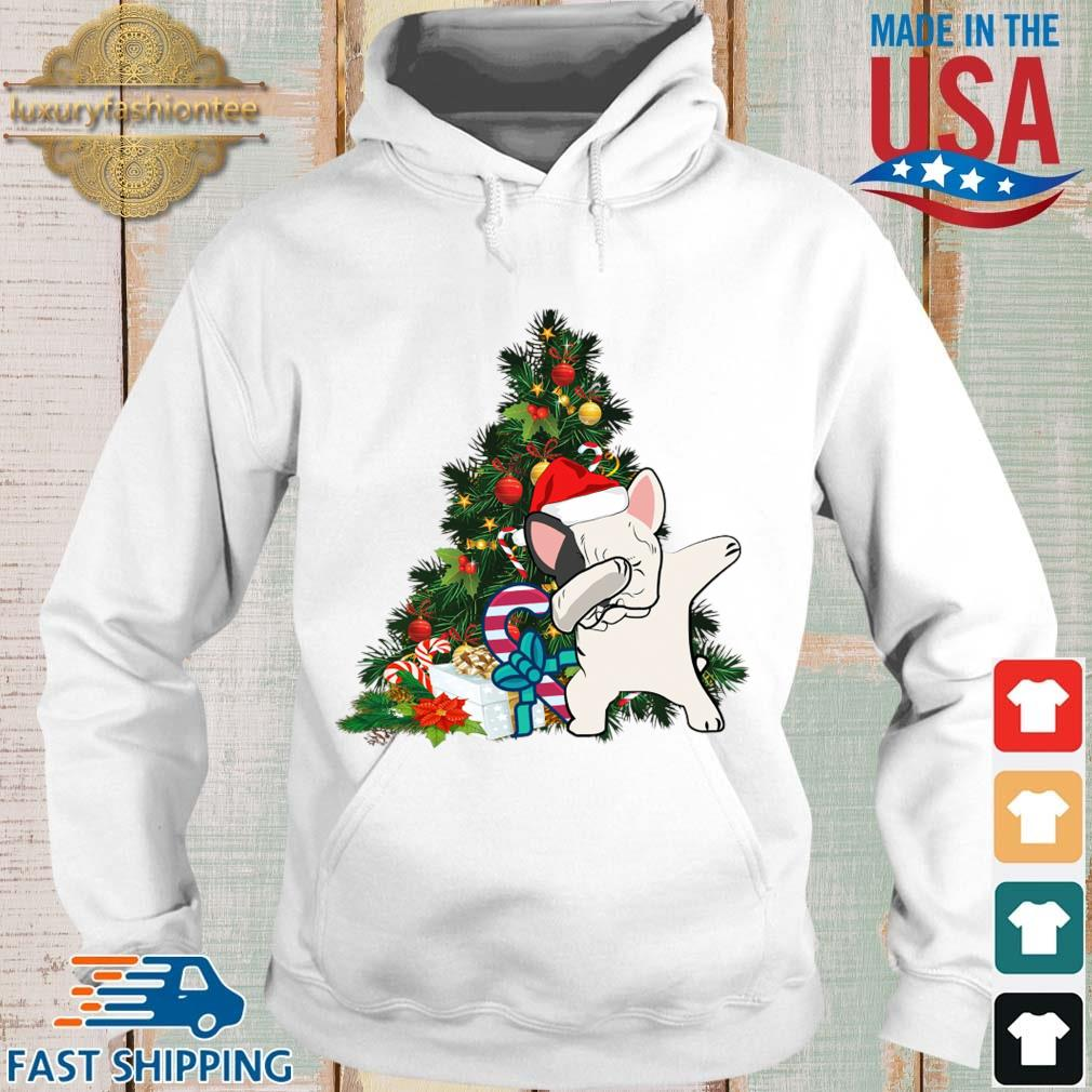 Santa Pitbull dabbing Christmas tree sweater Hoodie trang