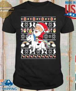 Santa riding unicorn Christmas shirt