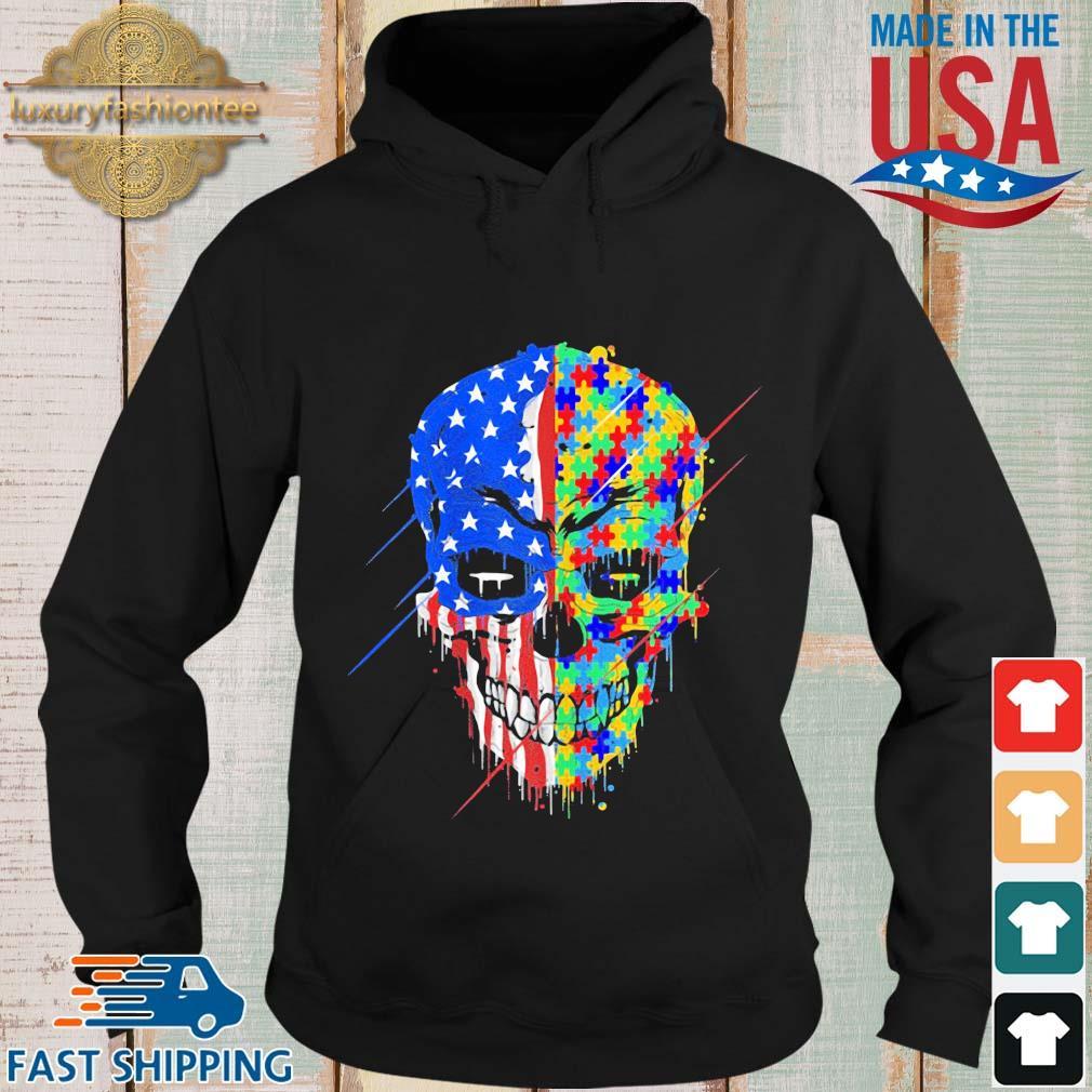 Skull Autism Awareness American flag s Hoodie den