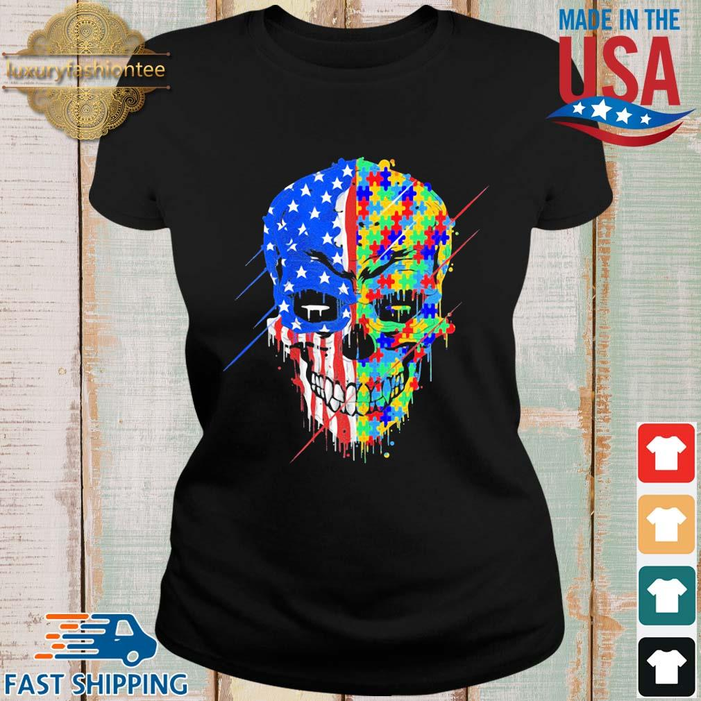Skull Autism Awareness American flag s Ladies den
