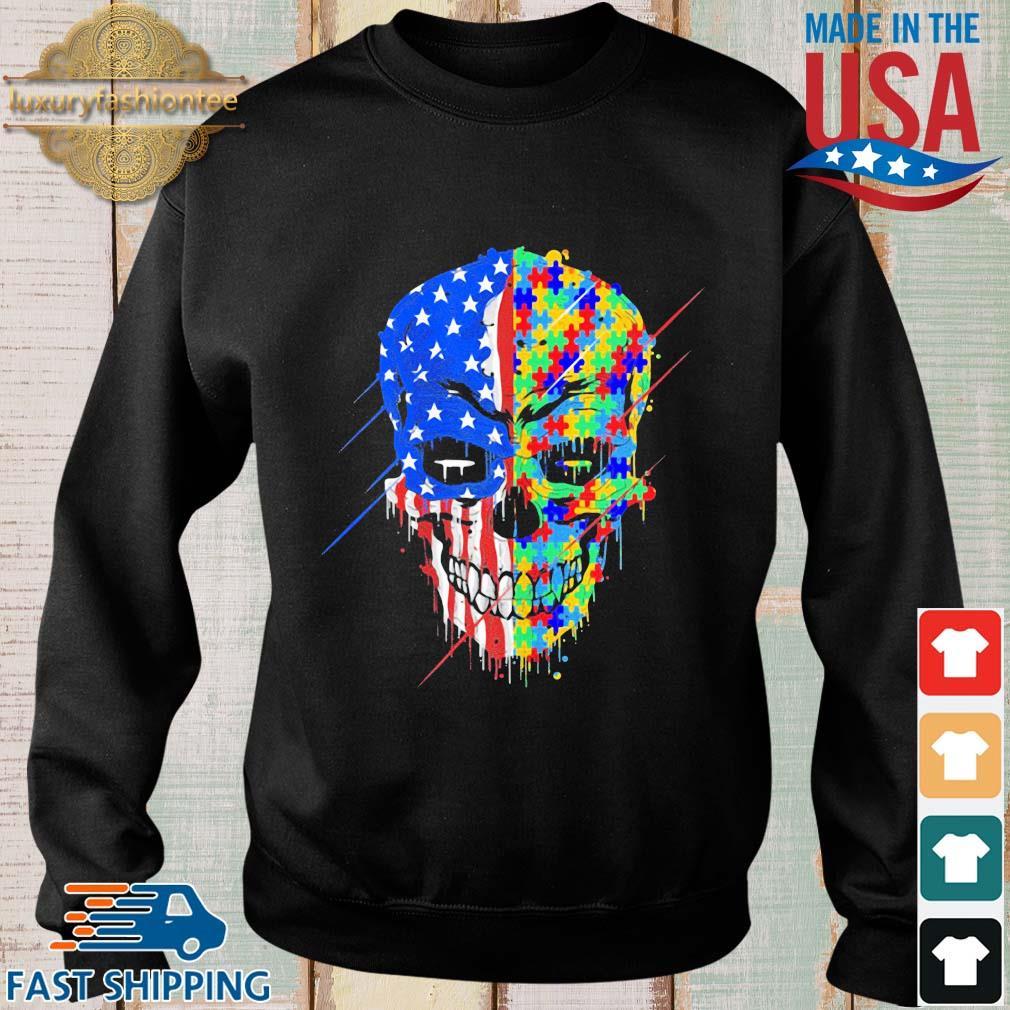 Skull Autism Awareness American flag s Sweater den