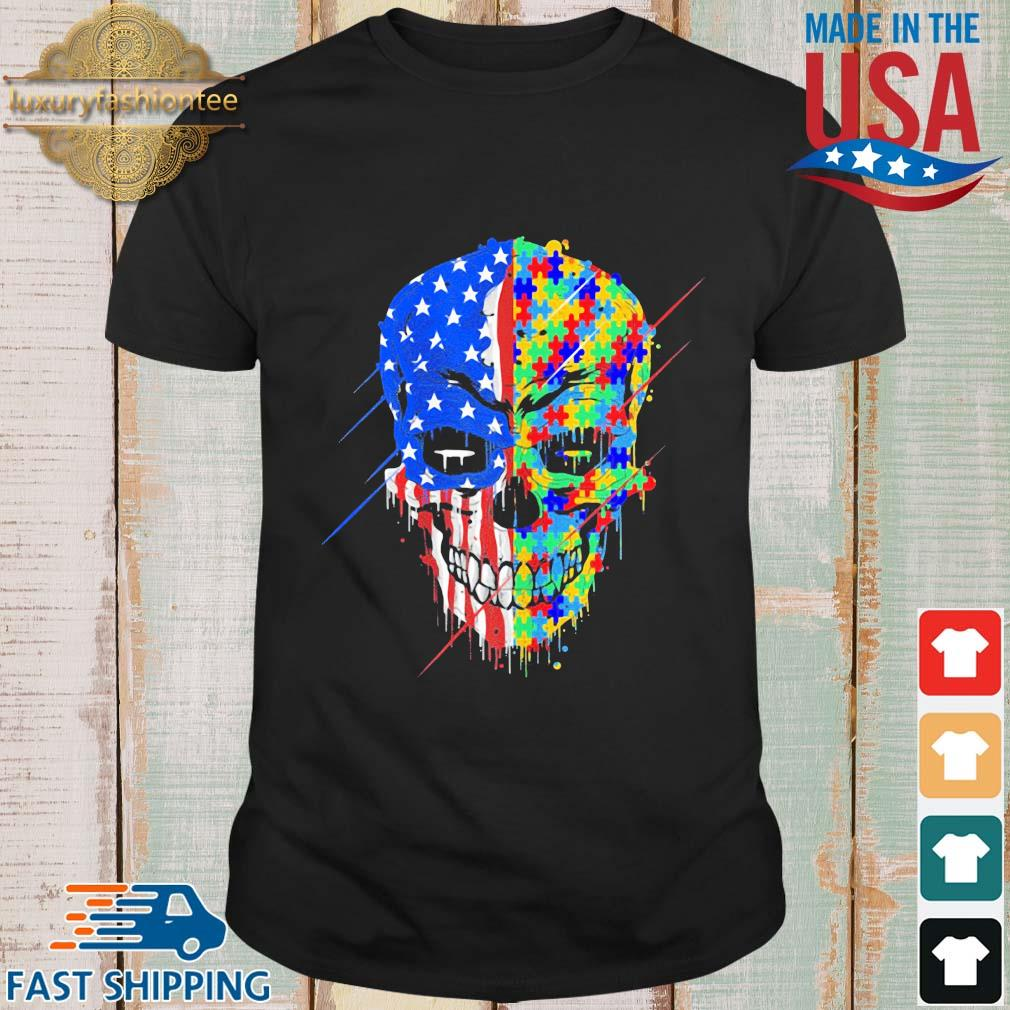 Skull Autism Awareness American flag shirt