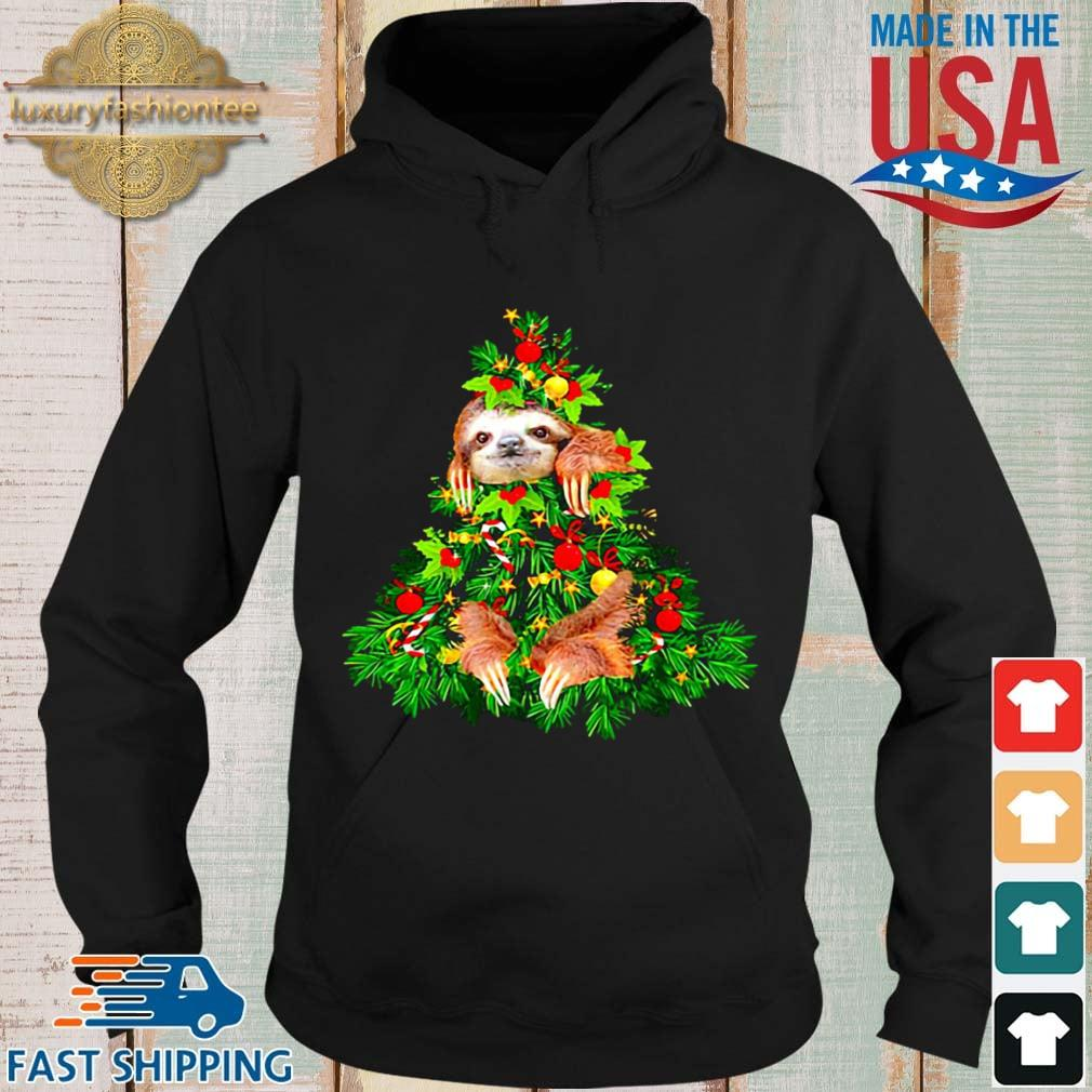 Sloth hide on Christmas tree sweater Hoodie