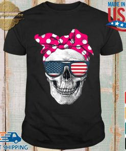 Womens American Skull Women's Pride With Cute Pink Polka Style 2020 Shirt