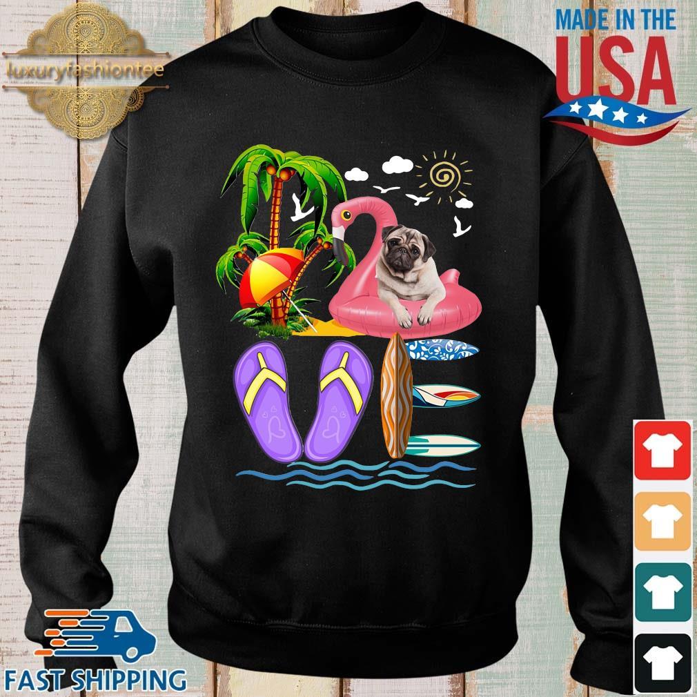 Love Summer Pug Flip Flops Flamingo Dog Pet Lover Kids Shirt