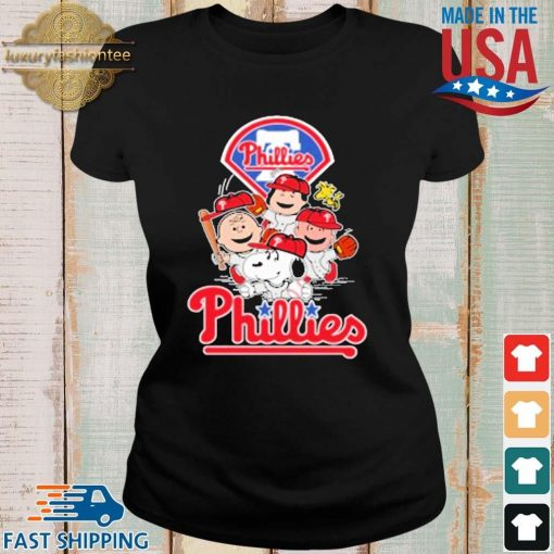 MLB Philadelphia Phillies Snoopy Charlie Brown Woodstock The Peanuts Movie Baseball Shirt Ladies