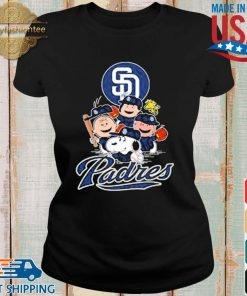MLB San Diego Padres Snoopy Charlie Brown Woodstock The Peanuts Movie Baseball Shirt Ladies