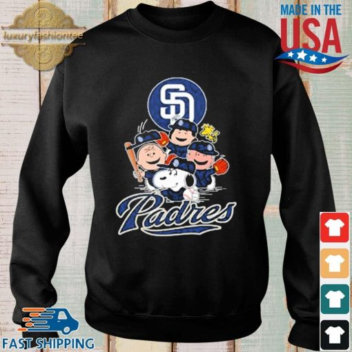 MLB San Diego Padres Snoopy Charlie Brown Woodstock The Peanuts Movie Baseball Shirt