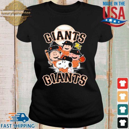 MLB San Francisco Giants Snoopy Charlie Brown Woodstock The Peanuts Movie Baseball Shirt Ladies