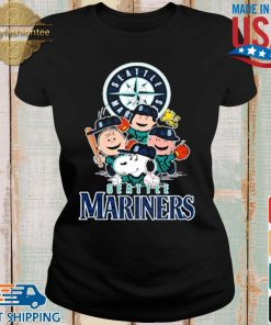 MLB Seattle Mariners Snoopy Charlie Brown Woodstock The Peanuts Movie Baseball Shirt Ladies