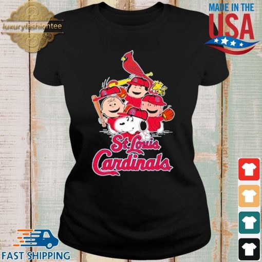 MLB St.Louis Cardinals Snoopy Charlie Brown Woodstock The Peanuts Movie Baseball Shirt Ladies