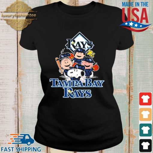 MLB Tampa Bay Rays Snoopy Charlie Brown Woodstock The Peanuts Movie Baseball Shirt Ladies